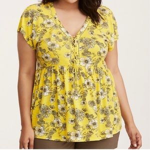 Torrid Yellow Floral Sunflower Dolman Lace Up Top